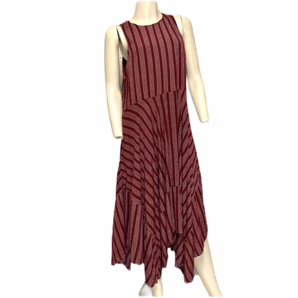 LUMIERE asymmetrical hem long striped dres…